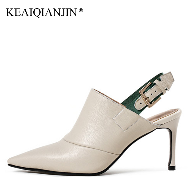 KEAIQIANJIN Woman Pointed Toe Pumps Fashion Spring Autumn Genuine Leather Sexy High Shoes Black Beige Wedding Sandals Pumps 2018 2017 new sexy pointed toe high heel women pumps genuine leather spring summer shoes woman fashion dress party casual shoes pumps