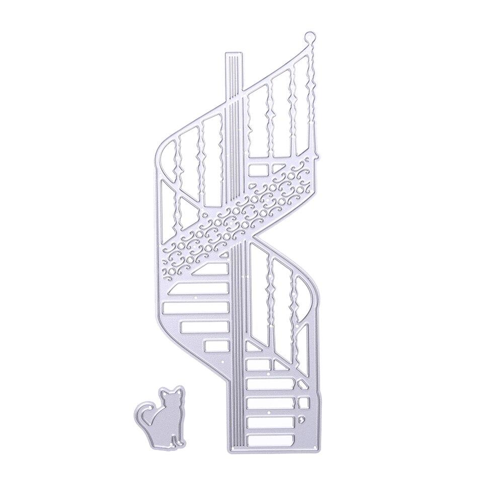 escaleras de caracol de metal gato troquelados de plantillas de troqueles de corte diy lbum