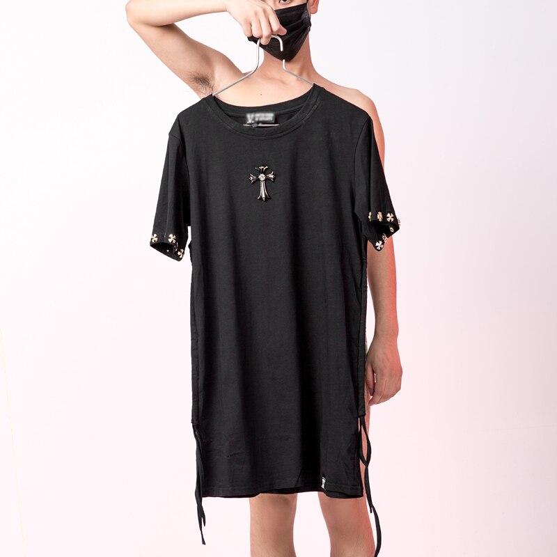 Stylish Iron cross t shirt men With ribbon Black Slim fit Summer Korean G dragon