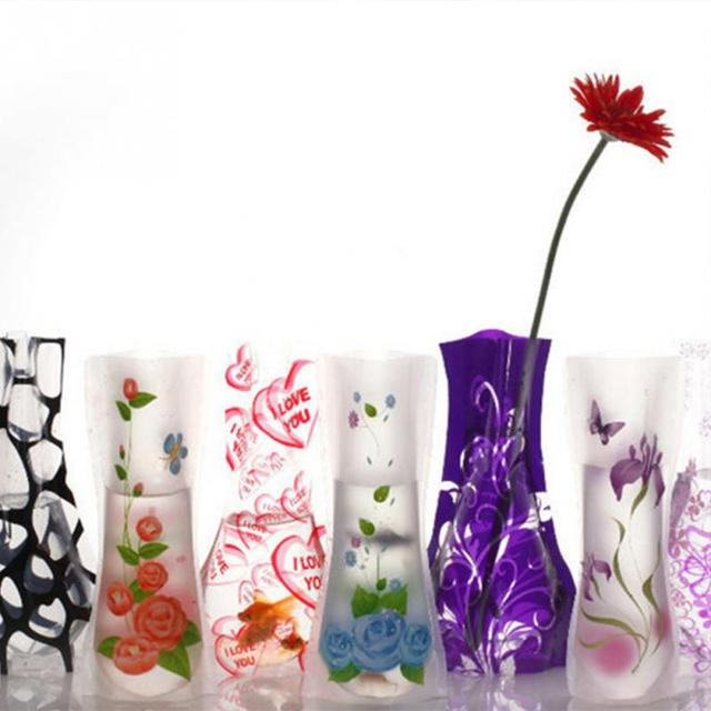3Pcs Portable Eco-friendly Flower Cute Foldable Vase Wedding Office Home Decoration Random PVC Plastic Flower Vase 2