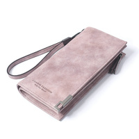 High Capacity Fashion Women Wallets Long Dull Polish Retro PU Leather Wallet Clutch Coin Purse Ladies