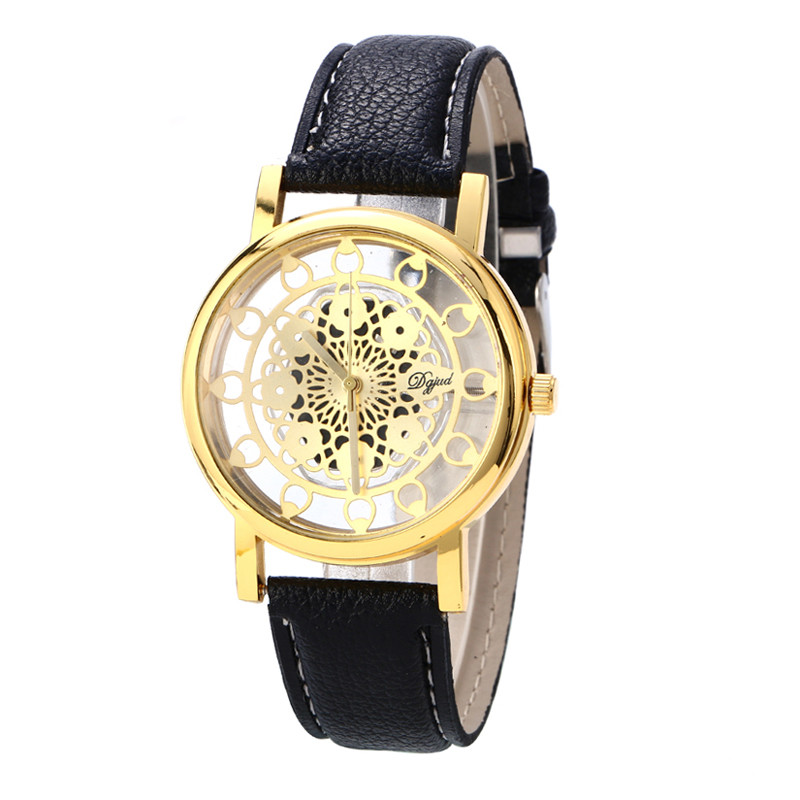 New Luxury <font><b>Fashion</b></font> <font><b>Unisex</b></font> Women Watch <font><b>montre</b></font> <font><b>femme</b></font> Hollow Dial Watch <font><b>Leather</b></font> Roman Quartz Round Wrist watches <font><b>reloj</b></font> <font><b>mujer</b></font> image