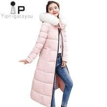 Kırmızı uzun kış ceket kadınlar kore tarzı ceket artı boyutu arkas büyük kürk yaka kapşonlu ceket kadın pembe giyim sıcak bayanlar palto
