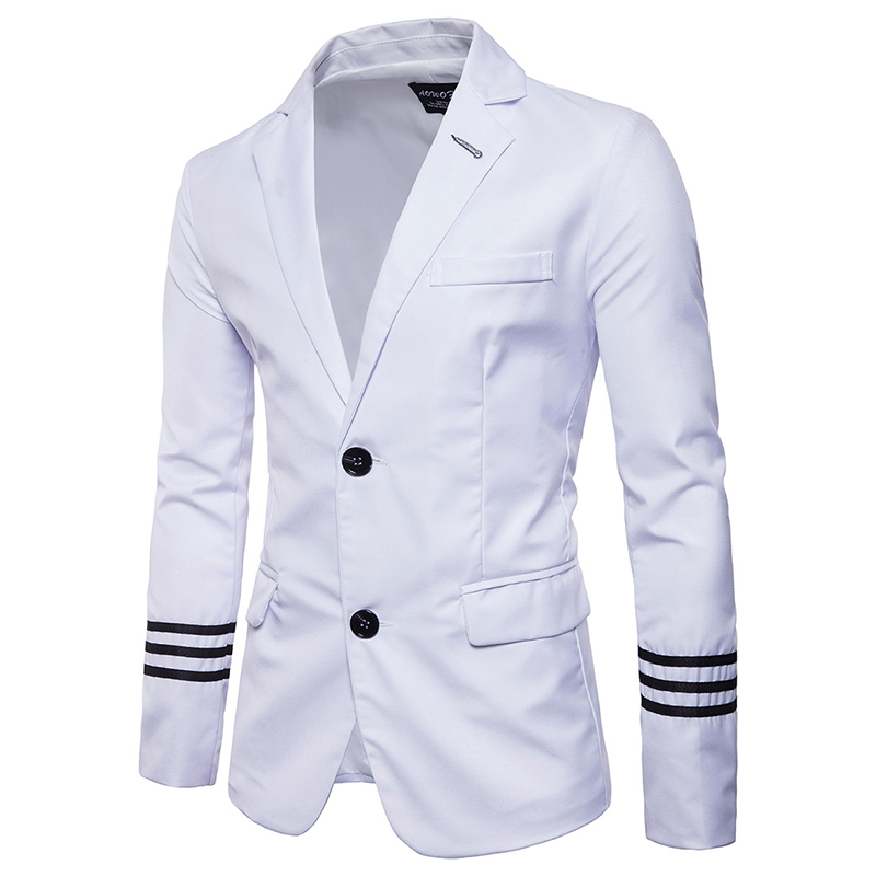 New Arrivals 2019 Casual Men Suits College Style Fashion Striped Design Men's Slim Fit Masculine Blazer Suit Asian Size S-5XL