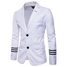 New Arrivals 2019 Casual men Suits College Style Fashion striped design Mens Slim fit Masculine Blazer Suit Asian size S-5XL