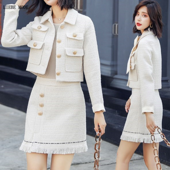 Luxury Designer Tweed Outfit Womens Elegant Mini Skirt Suits 2 Piece Set Short Jacket and Skirt Women Work Office Skirt Suits