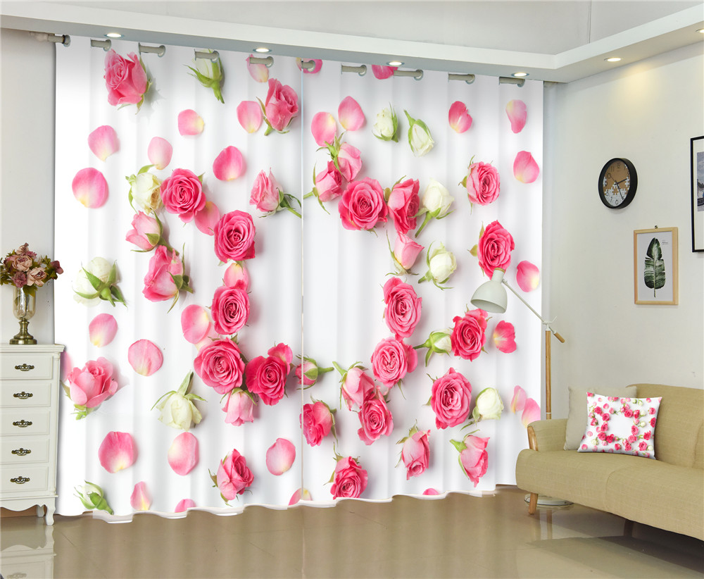 Curtains Pink Rose Luxury Blackout 3D Curtains For Living