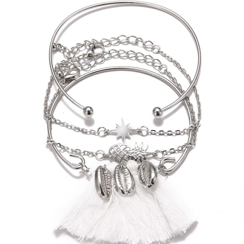 KISSWIFE браслет в стиле бохо ракушка Луна кисточкой браслет для женщин Ретро Геометрические выразительные очаровательные вечерние свадебные ювелирные изделия аксессуары - Окраска металла: KWZJ0455