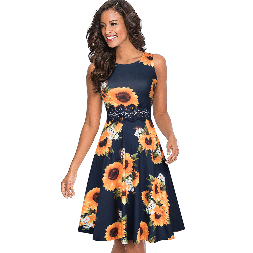 Nice-forever Vintage Elegant Embroidery Floral Lace Patchwork vestidos A-Line Pinup Business Women Party Flare Swing Dress A079 107
