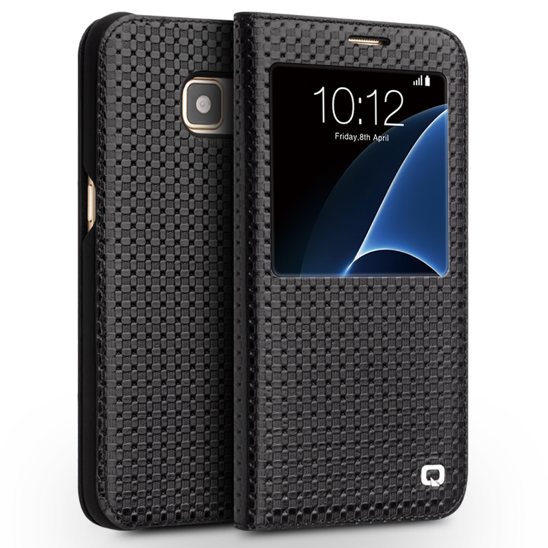 QIALINO 2016 Mode Motif Véritable Couverture En Cuir pour Samsung Galaxy S7 et S7 bord pour G9300 pour G9350 Case sommeil wake fonction