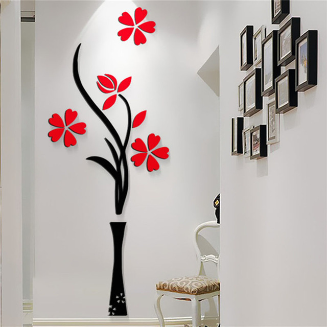 New Beautiful Design Red The Plum Flower Vase Acrylic Art Sticker Wall Stickers Diy Home