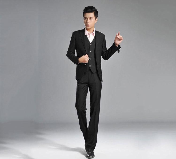 1ddc688923d00 Black Jacket Men Suit 3 Pieces Formal Tuxedos Fashion Terno Masculino Notch  Lapel Two Buttons 4Pieces(Jacket+Pant+Tie+Vest)