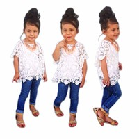 toddler girl clothing 3Pcs White Shirt +Vest + Denim Pants Set Clothes Outfits kids clothes girls kids fashion ropa mujer