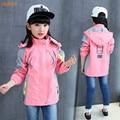 IAiRAY новый 2017 детская одежда весна куртка девушки пальто дети девушки куртки розовый жакет с капюшоном повседневная топы верхняя одежда