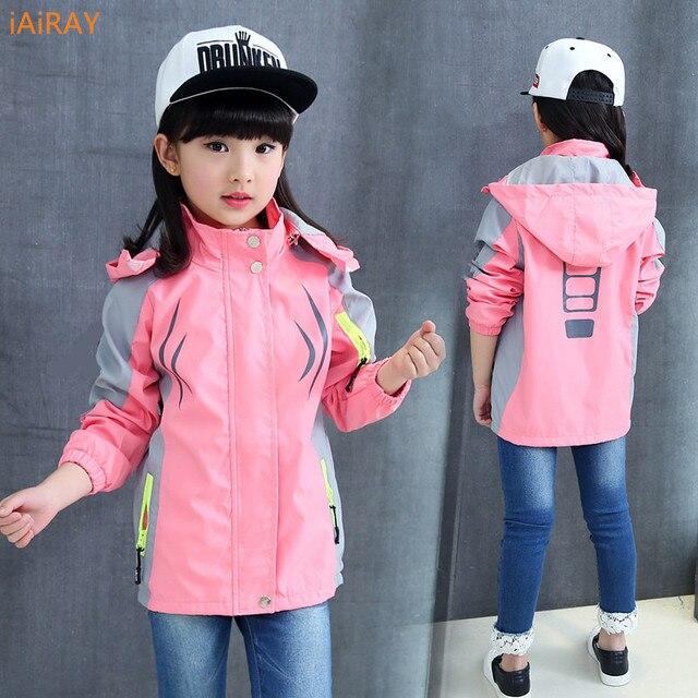 IAiRAY/Новинка 2018 года, брендовая детская одежда, весенняя куртка для девочек, пальто, детские куртки для девочек, розовая куртка с капюшоном, повседневные топы, верхняя одежда