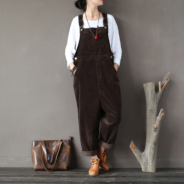 Trousers for Women 2019 Spring Autumn Corduroy Long Bib Pants Female Trouser Plus Size Casual Loose Harem Pants Overalls X01696