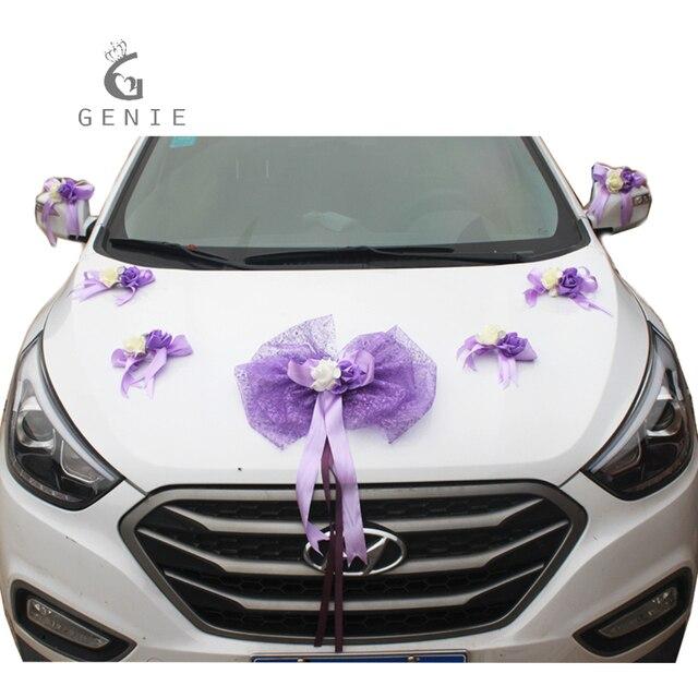 Genie Tulle Bowknot Foam Rose Wedding Car Decoration Set Marriage Room Decor Purple Supplies Artificial