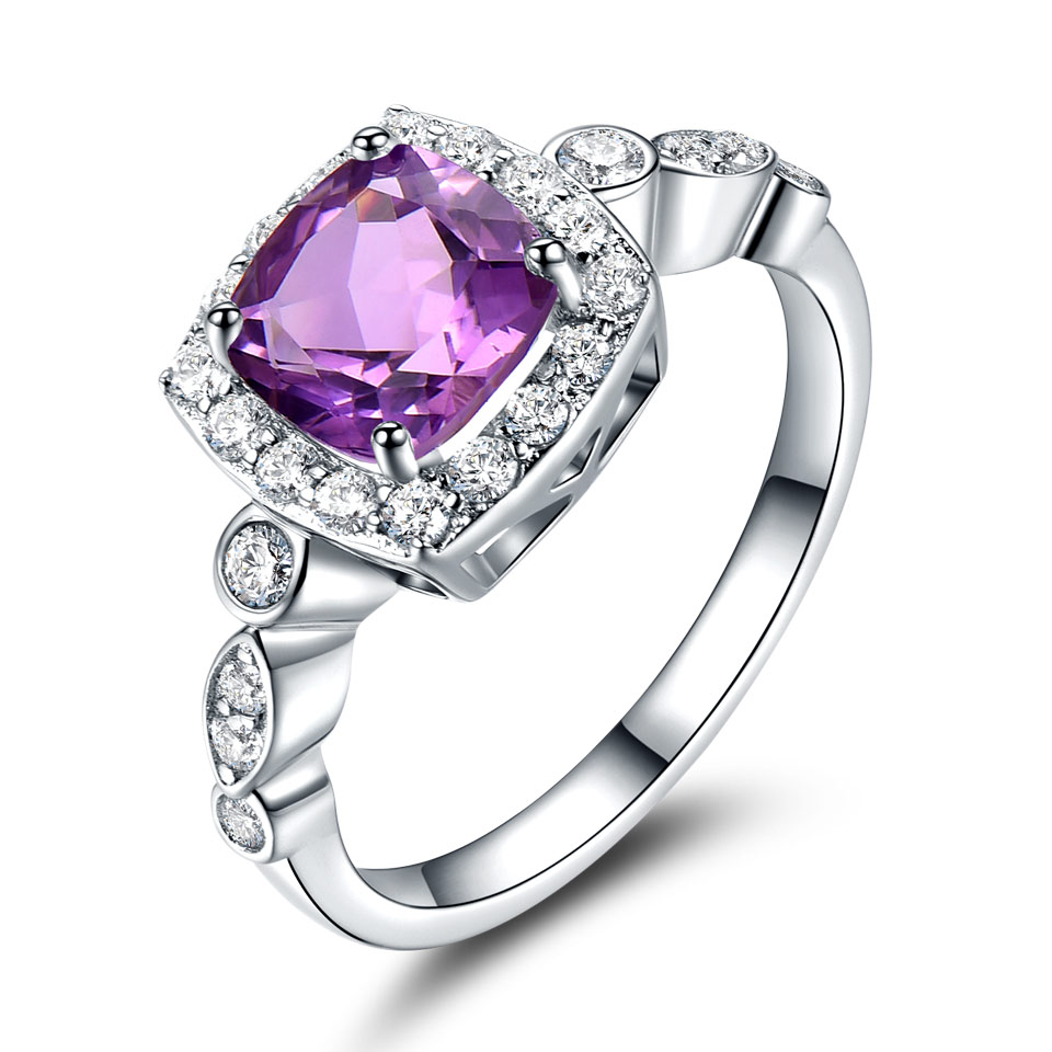 Image 3 - UMCHO Genuine 925 Sterling Silver Birthstone Ring Created Nano Topaz Garnet Amethyst CZ Rings Engagement For Women Fine JewelryRings   -