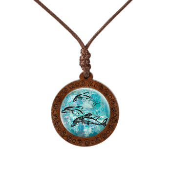 New Wood Necklace Dolphin Turtle Shark Marine Lifepicture Handmade Necklaces  Mens Necklaces Women's Necklaces