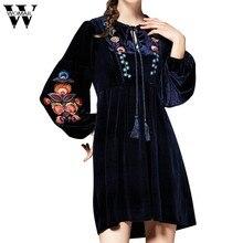 Womail Embroidery Women Dresses Elegant Casual Tasseled Tie Bishop Sleeve  Velvet Dress Navy V-neck A Line Christmas Dress Dec13 982b6bedc