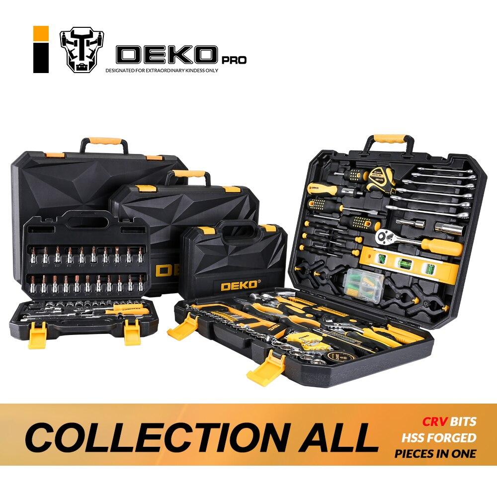 DEKOPRO Hand Tool Set Allgemeine Haushalt Hand Tool Kit mit Kunststoff Toolbox Lagerung Fall Steckschlüssel Schraubendreher Messer