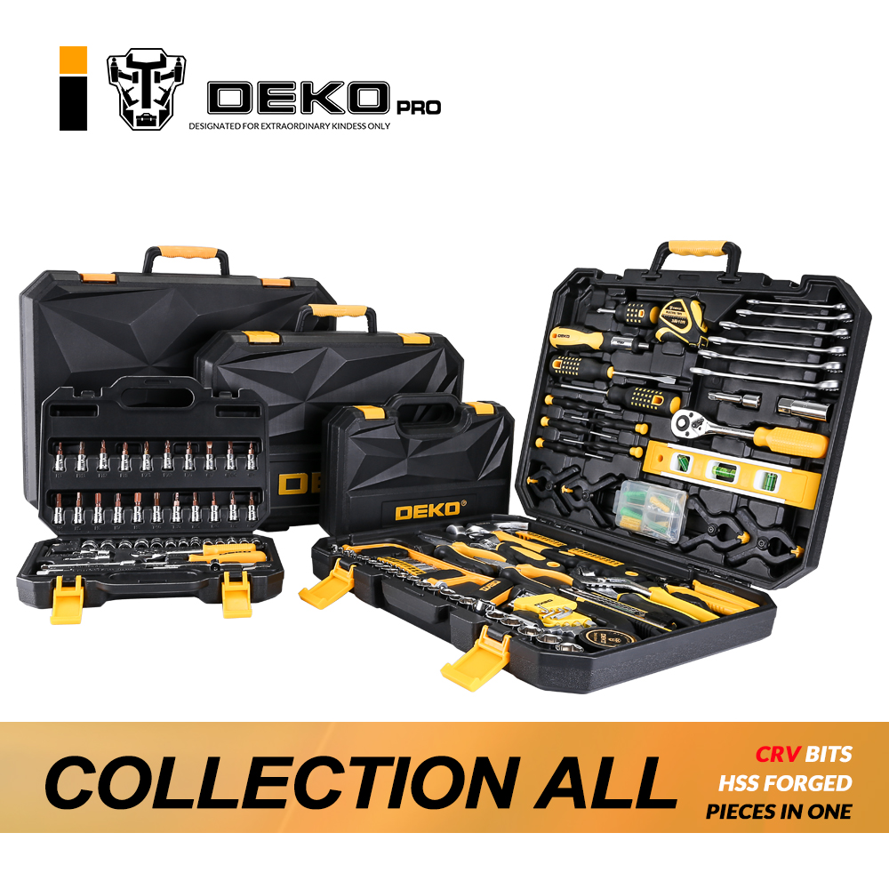 DEKOPRO Hand Tool Set General Household Hand Tool Kit with Plastic Toolbox Storage Case Socket Wrench Screwdriver Knife 128pcs socket wrench tool set auto repair mixed tool combination package hand tool kit with plastic toolbox storage case