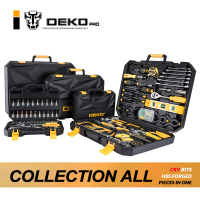 DEKOPRO Hand Tool Set General Household Hand Tool Kit with Plastic Toolbox Storage Case Socket Wrench Screwdriver Knife