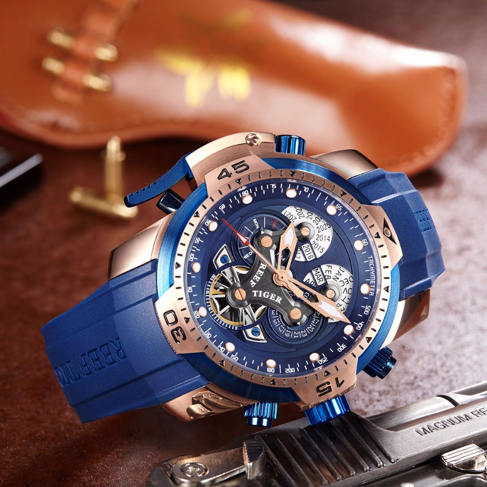 Reef Tiger RT Sport Mens Watch with Complicated Big Dial Perpetual Calendar Steel Mechanical Watch Blue