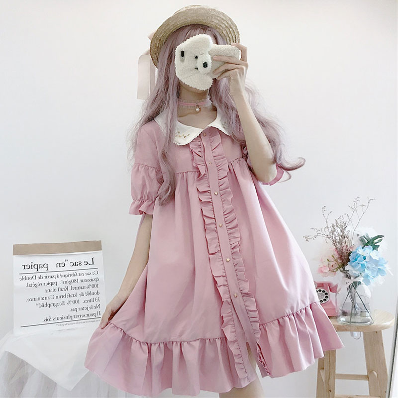 Kawaii Japanese Lolita Dress Women Summer Soft Sister Cute Embroidered Doll Collar Loose Short-sleeved Ruffled Dress Cute