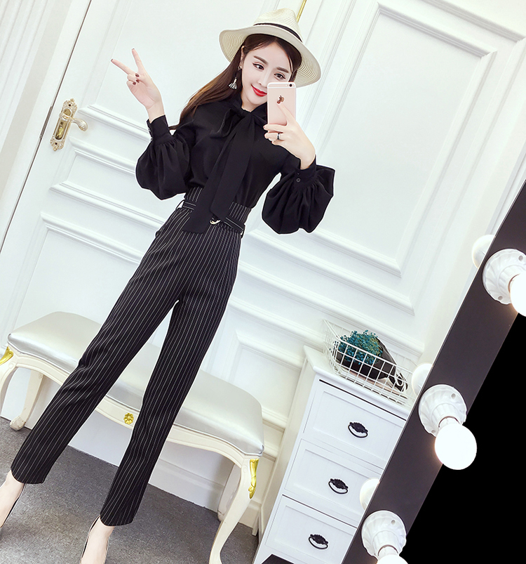 Women's 2018 Spring and Autumn new style chiffon blouse career wear stripes striped straight jeans Fashionable Set 9