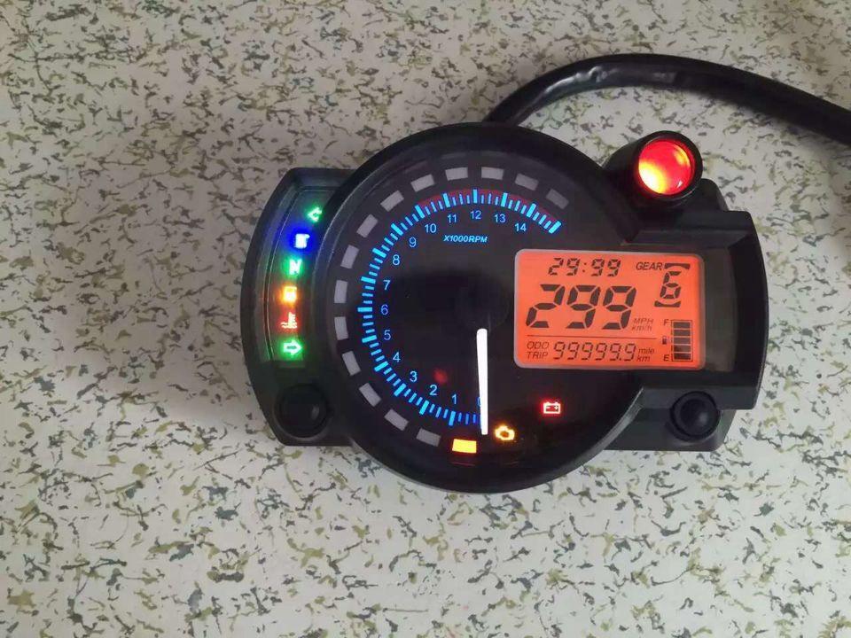 Adjustable LCD Digital Universal Tachometer 2 color Backlight Motorcycle Speedometer Odometer