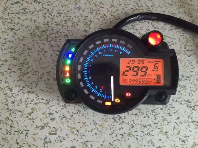 Adjustable LCD Digital Universal Tachometer 2 color Backlight Motorcycle Speedometer Odometer MAX 299KM/H