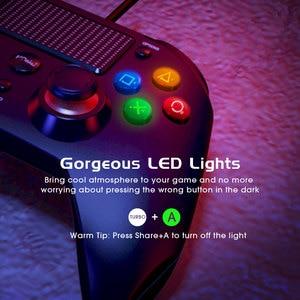 Image 4 - Pictek USB filaire manette 3 en 1 pour PS4 contrôleur de jeu LED lumières double vibrateurs Audio manette pour PC PS3 ipad