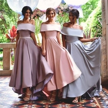New Style 2017 Cheap Off the Shoulder Bridesmaid Dress With Sashes Satin High Low Wedding Party Dress Long Bridesmaid Dresses