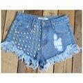 2016 das Mulheres do verão Do Vintage Da Moda Borla Rebite Rasgado Soltas Short Jeans de Cintura Alta Do Punk Sexy Hot Shorts Jeans Mulher 836