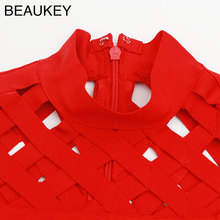 Red Lattice Hollow Out Turtleneck Rayon Sexy Women's Cap Sleeve Knee Length Bodycon Bandage Dress