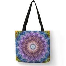 Custom Boho Mandala Floral Tote Bag Eco Reusable Bag Shopping  Home Storage Bags Travel