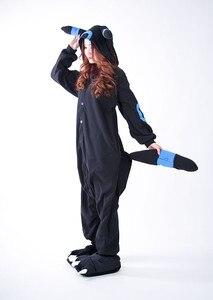 Image 5 - Kigurumi Volwassen Umbreon Rompers Anime Cosplay Kostuum Winter Nachtkleding Pyjama Jumpsuit Homewear Vrouwen Man Hoodies