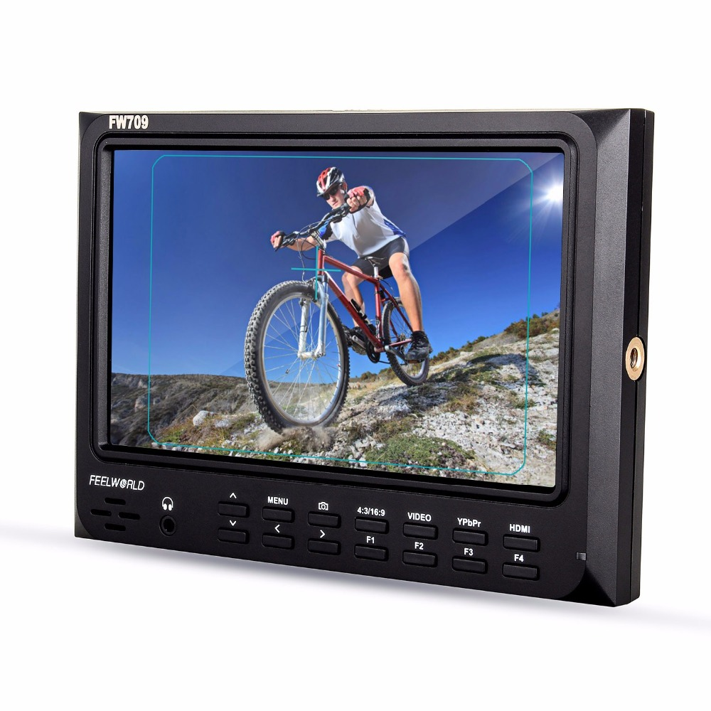 Feelworld FW 709 7 Inches IPS HD screen Camera Monitor 1024x600 Support GH4 A7RII 7D D800 C100 C300 FS7 Camera Magic Arm Battery in Monitor from Consumer Electronics