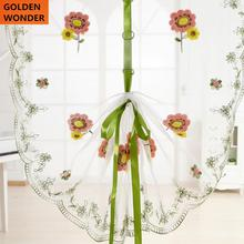 New Embroidery Double sided Balloon Curtains Living Room Window Rome Curtain FlowerCortina Kitchen Chiffon