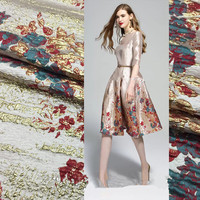 SASKIA 120cm/Lot Position Brocade Jacquard Fabrics Yarn Dye Metallic Flower Fabric For Dress Clothing Sewing Red Patchwork 55 W