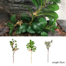 Habitat Decorative Plants Plastic Plant Leaves Branches Simulated Plant for Lizard Frog Spider Snake Reptiles Pets Accessories(China)