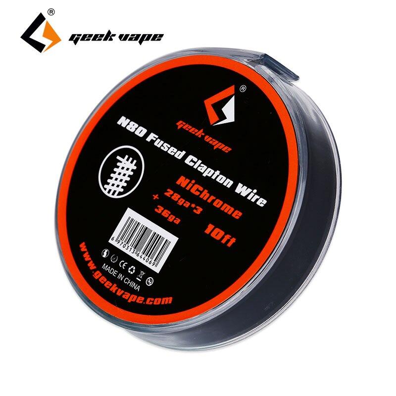 Originale 10ft GeekVape N80 Fused Clapton Filo (28GAx3 + 36GA) filo Nichelcromo RDA/RTA/RDTA per DIY sigaretta Elettronica Filo di Riscaldamento