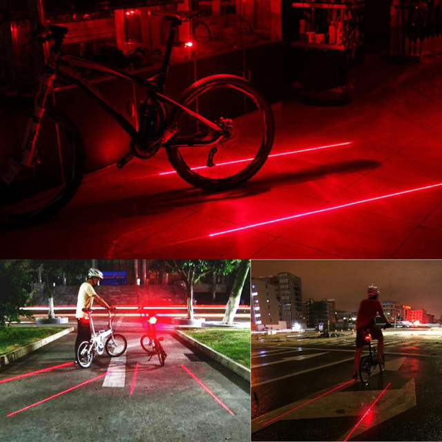 Bike Cycling Lights Waterproof 5 LED 2 Lasers 3 Modes Bike Taillight Safety Warning Light Bicycle Rear Bycicle Light Tail Lamp 5
