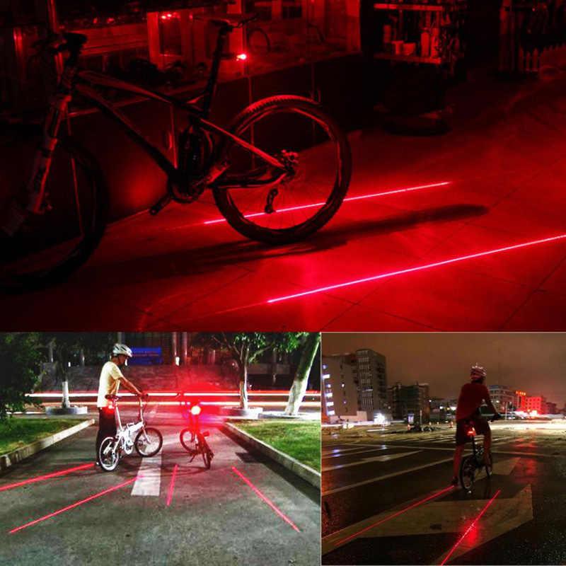 אופני רכיבה על אופניים אורות עמיד למים 5 LED 2 לייזרים 3 מצבי אופני פנס אחורי בטיחות אזהרת אור אופניים אחורי Bycicle אור זנב מנורה