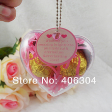 Free shipping,6.5cm transparent clear hanging heart candy box ball ,clear plastic christmas ornaments, DIY item(China)