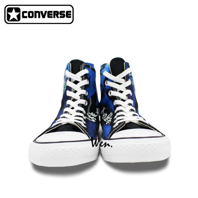 95678eca3406e8 High Top Men Women Converse All Star Alice in Wonderland Cheshire Cat  Design Hand Painted Shoes Woman Man Sneakers Christmas-in Skateboarding  from Sports ...