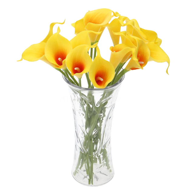 UESH 18x Artificial Calla Lily Flowers Single Long Stem Bouquet Real Home  Decor Color: