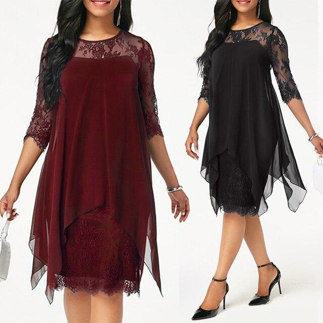 Плюс Размеры шифоновые платья Новинки для женщин Мода шифон Наложение три четверти рукав шить АСИММЕТРИЧНЫМ ПОДОЛОМ кружевное платье