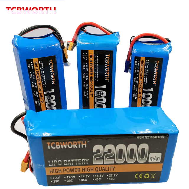 RC Lipo Battery 6S 22.2V 22000mAh 25C For RC For Car Airplane Tank Toy Models 6s RC Li-Po battery  Hight Power